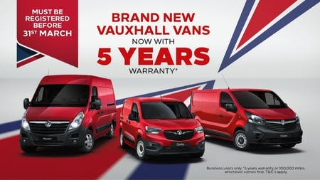 Pentagon Offer 5 Year Warranty with New Vauxhall Vans
